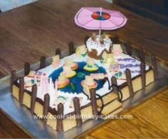 Homemade Swimming  Pool Party Cake: I made this swimming pool party cake by request for my granddaughter for her ninth birthday.  I prepared a dense chocolate cake in a 9 by 13 inch pan with