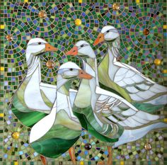 Geese Print - Limited Edition Giclee Print from an Original Glass Mosaic of Four Geese - Mosaic Art by LAMosaicGifts on Etsy https://www.etsy.com/listing/151539462/geese-print-limited-edition-giclee-print