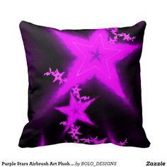 Purple Stars Airbrush Art Plush Throw Pillow