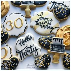 "✨ I used ""thank you"" cutter to make the ""hello thirty"" cookie, just turn it upside down! Iced Cookies, Cute Cookies, Royal Icing Cookies, Sugar Cookies, 30th Birthday Decorations, 30th Bday Ideas, 30th Birthday Ideas For Women, Retirement Decorations, Birthday Candles"