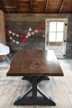 The Gwendolyn - Live Edge Walnut Slab Dining Table