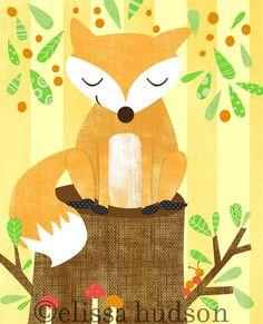 Mur Print Art romanesque boisé série-Fox par elissahudson sur Etsy