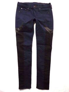 Rag and Bone size 27 Skinny leg New Navy Black Lamb leather panel Womens jeans #ragbone #SlimSkinny