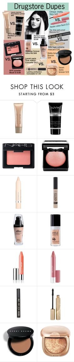 """Drugstore dupes"" by funkiiangel ❤ liked on Polyvore featuring beauty, Laura Mercier, NYX, NARS Cosmetics, L'Oréal Paris, MAKE UP FOR EVER, Clinique, Revlon, Topshop and Stila"