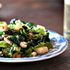 Greens plucked from my garden with local apples, walnuts, and a maple dressing.