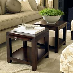 Bunching-Cube-Coffee-Table-with-Satin-Nickel-Hardware - 2 of these for living room coffee table??