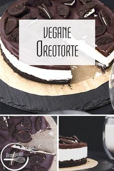Vegan oreo cake: no-bake with cream str . - Yes, I think we all agree that oreo biscuits won& save the world. They still taste delicious - Biscuit Oreo, Oreo Biscuits, Baking Recipes, Cake Recipes, Dessert Recipes, Vegan Recipes, No Bake Desserts, Easy Desserts, Health Desserts