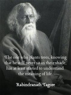 The one who plants trees, knowing that he will never sit in their shade, has at least started to learn the meaning of life. Tagore Wise Quotes, Quotable Quotes, Great Quotes, Words Quotes, Wise Words, Inspirational Quotes, Fart Quotes, Wisdom Sayings, Strong Quotes