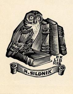 Owl-Ex-libris-Bookplate-by-Henno-Arrak-Estonia