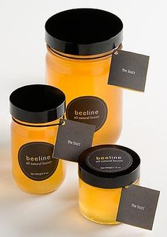 Busy bees around O'Hare airport produce Beeline Honey and the complex, smoky tasting, spreadable Beelove raw natural honey. Support their cause to help their employees, former convicts, gain needed work/life skills. Yogurt Packaging, Honey Packaging, Glass Packaging, Beauty Packaging, Food Packaging, Packaging Design, Honey Bottles, Honey Logo, Honey Label