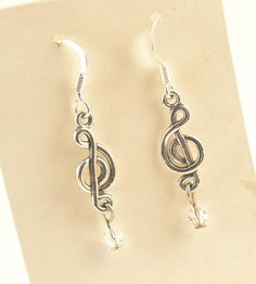 Musical Note and Swarovski Crystal Earrings 20 x 8mm by ChezChani,