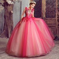 2015 New Leader Free Shipping Hollow Neck Royal Vintage Color Lace Up Rose Red Wedding Dress