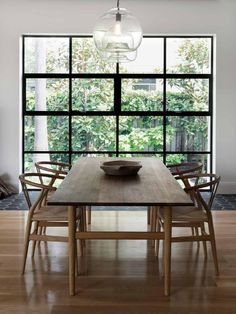 Related posts: DIY Husky Modern Dining Table Wonderful Dining Rooms With Small Functional Dining Tables 75 Modern Farmhouse Dining Room Decor Ideas 45 Bay Window Ideas with Modern Interior Design Wood Dining Chairs, Interior, Farmhouse Dining Room, Minimalist Dining Room, Home Decor, House Interior, Dining Room Table, Rustic Dining Room, Dining Table Design