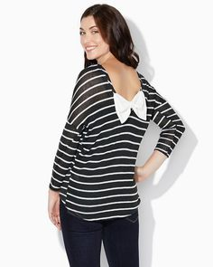 charming charlie | Ina Striped Bow Back Sweater | UPC: 3000712627 #charmingcharlie