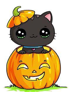 Cat in pumpkin - anime kawaii Kawaii Halloween, Chat Halloween, Halloween Drawings, Halloween Pictures, Halloween Pumpkins, Kawaii Doodles, Cute Kawaii Drawings, Cute Animal Drawings, Kawaii Cute