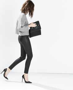 Image 3 of LEATHER SKINNY TROUSERS from Zara
