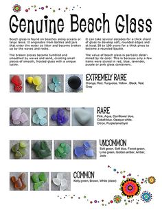 We love searching for sea glass! Beach Glass Rarity Chart by Gayle Bird… Sea Glass Beach, Sea Glass Art, Sea Glass Jewelry, Water Glass, Stained Glass, Sea Glass Colors, Pebble Beach, Glass Necklace, Bird Film