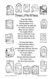 Nursery Rhyme printable - Three Little Kittens Nursery Rhymes Lyrics, Nursery Rhymes Preschool, Nursery Rhyme Theme, Preschool Songs, Preschool Literacy, Preschool Themes, Toddler Preschool, Preschool Boards, Pet Theme