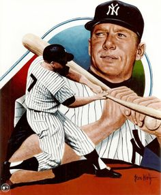 Mickey Mantle, NY Yankees by Leon Wolf. Baseball Art, Cardinals Baseball, Sports Baseball, Sports Art, Baseball Odds, Sports Logos, My Yankees, Yankees News, New York Yankees