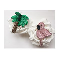 Брошь фламинго, брошь пальма из бисера