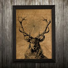 Wildlife print. Deer poster. Antlers decor. Burlap print.  PLEASE NOTE: this is not actual burlap, this is an art print, the image is printed on art
