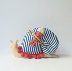 Snail toy, stuffed Snail, animal toy in modern nautical style. Striped blue white, red pompom trim. Little fisher Snail. Toy and home decor