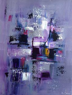 Peinture moderne acrylique violet bleu rose noir blanc jaune sur châssis toile coton 27 x 35 cm : Peintures par stephanie-menard