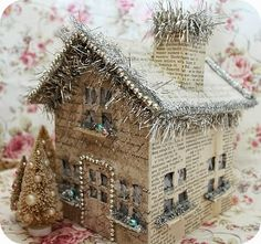 Vintage paper Christmas house * Schlaflos in NRW *: Lace Book & Leuchthaus