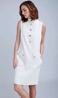 Wear this piece as a tunic or as a sleeveless dress. In stretch lightweight double weave, Urban Safari is sophisticated and modern wi… Simple Dresses, Elegant Dresses, Casual Dresses, Short Dresses, African Fashion Dresses, Fashion Outfits, Womens Fashion, Linen Dresses, Day Dresses