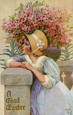 A GLAD EASTER girl in Easter bonnet leans on stone balustrade below large bowl of pink flowers - Art by C. Easter Vintage, Vintage Holiday, Vintage Greeting Cards, Vintage Postcards, Fete Pascal, Belle Epoque, Easter Illustration, Easter Flowers, Pink Flowers