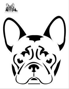 Pumpkin Carving Stencils for Dogs - French Bulldog Pumpkin Stencil. Bulldog Drawing, Dog Pumpkin, Face Template, Arte Tribal, Pumpkin Stencil, Scroll Saw Patterns, Dog Walking, String Art, Stencils