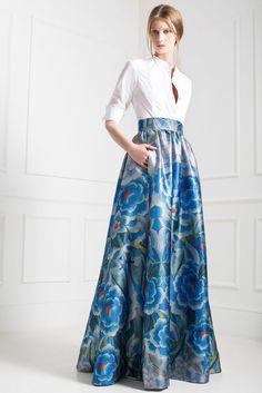 Temperley London Pre-Fall 2015 - Look 34 - crisp white shirt with floor length, blue floral skirt