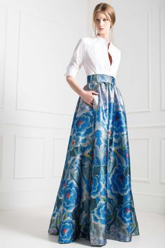 Temperley London Pre-Fall 2015 - Look 34 - crisp white shirt with floor length, blue floral skirt