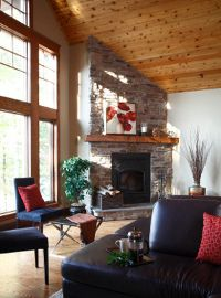 Interior image of post and beam home design by Linwood Custom Homes with vaulted cedar ceiling.