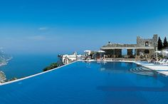 Let's go to the Amalfi Coast. Relax at the end of the day in THIS pool at Hotel Caruso, Ravello, Italy New Travel, Holiday Travel, Travel Box, The Places Youll Go, Places To See, Shark Pool, Ravello Italy, Big Pools, Swimming Pools
