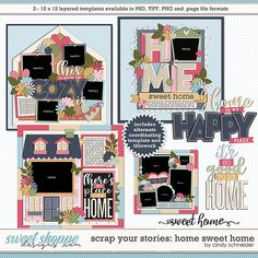 Cindy's Layered Templates - Scrap Your Stories: Home Sweet Home by Cindy Schneider Scrapbook Templates, Scrapbook Sketches, Photo Drop, Big Photo, Baby Scrapbook, Family Memories, Layout Template, Scrapbooks, Digital Scrapbooking