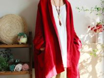 RED Batwing Oversize Coat Casual Loose Cape