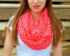Orange polka dot cotton infinity scarf.