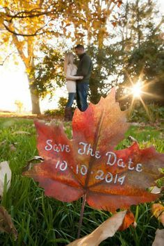 Fall wedding engagement save the date photo idea