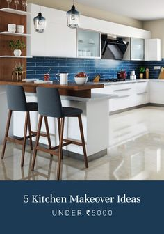 Kitchen makeovers ideas need not be expensive and time-consuming. Choose from these practical tips to revamp your kitchen. Small Apartment Kitchen, Home Decor Kitchen, Kitchen Furniture, Home Kitchens, Kitchen Bar Design, Kitchen Cupboard Designs, Interior Design Kitchen, Kitchen Modular, Modern Kitchen Cabinets