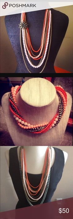 💥Premier Deaigns Papaya necklace Beautiful coral/bronze/light pink necklace with multiple ways to wear!! Super cute! (Broach not included but you can add one :-) ) Premier Designs Jewelry Necklaces