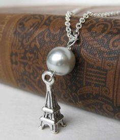 Paris Necklace Vintage Pearl Eiffel Tower Silver Charm