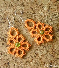 Floral tatted earrings