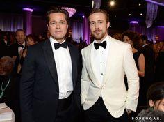 Pin for Later: Die 22 besten Backstage-Aufnahmen der Golden Globes Brad Pitt und Ryan Gosling ließen die Herzen der Zuschauer dahin schmelzen