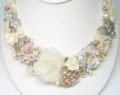 Bridal Statement Bib Necklace in Blush Pink and Cream by SolBijou