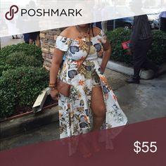 Floral romper dress Off shoulder overlay romper dress Dresses Maxi