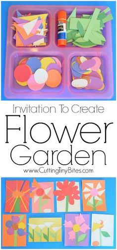 Invitation To Create: Flower Garden. Open ended creative spring paper craft for kids. Great for fine motor development. Perfect for toddlers and preschoolers. #springart #toddleractivities