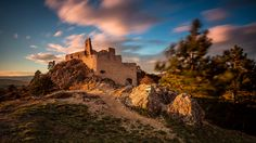 Sunset at Bathory Castle by Ľuboš Balažovič Beautiful Castles, Medieval Castle, Abandoned Buildings, Urban Decay, Monument Valley, Explore, Sunset, World, Places