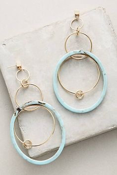 Navy Tandem Hoop Earrings