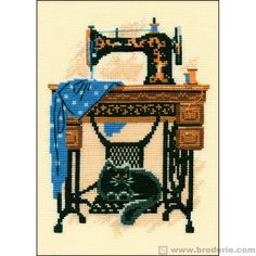 Cat With Sewing Machine - Counted Cross Stitch Kit. Designer: Riolis , Price: We sell cross stitch supplies online. Huge range of patterns, kits, fabrics and fibers. Cross Stitch Needles, Cross Stitch Embroidery, Cross Stitching, Cross Stitch Designs, Cross Stitch Patterns, Diy Broderie, Cross Stitch Pictures, Vintage Sewing Machines, Counted Cross Stitch Kits